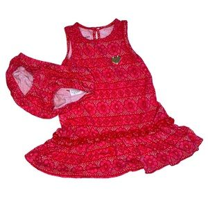 Juicy Couture Pink Red Ruffle Tank Dress Bloomers